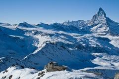 Matterhorn mountain. Swiss Alps. Famous Matterhorn mountain - swiss landmark. Mountain ridge in winter. Switzerland stock images