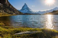 Matterhorn Mountain. View of Matterhorn Mountain with lake at Zermatt ,Switzerland Stock Photography
