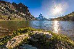 Matterhorn Mountain. View of Matterhorn Mountain with lake at Zermatt ,Switzerland Stock Images