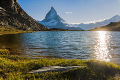 Matterhorn Mountain. View of Matterhorn Mountain with lake at Zermatt ,Switzerland Royalty Free Stock Photos