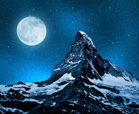 Matterhorn. In night sky with moon - Swiss Alps Royalty Free Stock Photography