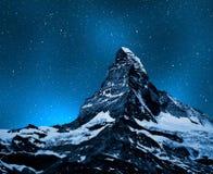 Matterhorn. In night sky - Swiss Alps Stock Photo