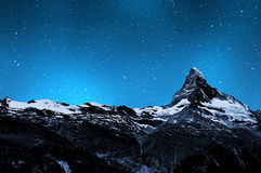 Matterhorn. In night sky - Swiss Alps Royalty Free Stock Images