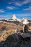 Matterhorn with observatory, Zermatt area, Switzerland. Famous Matterhorn with observatory, Zermatt area, Switzerland royalty free stock images