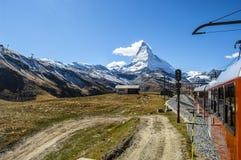 Matterhorn od pociągu Obrazy Royalty Free