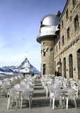 Matterhorn and outdoor cafe. In Swtizerland Royalty Free Stock Photo