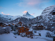 Matterhorn over Zermatt in the Swiss Alps royalty free stock image