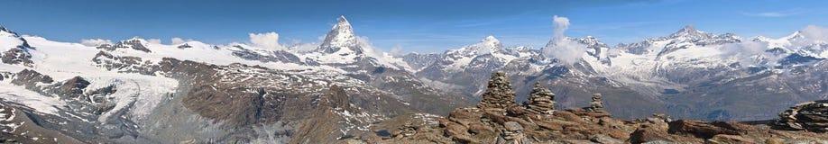 Matterhorn panorama. Panorama with Matterhorn mountain in Alp, Switzerland Stock Photos