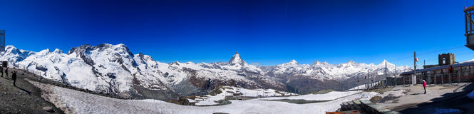 Matterhorn Panorama. Panorama image of Matterhorn, Switzerland from Gornergrat royalty free stock images