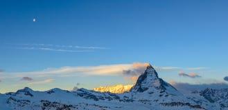 Matterhorn panorama przy wschodem słońca Obrazy Royalty Free