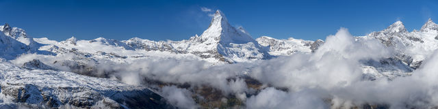 The Matterhorn Panorama. Panorama of The Matterhorn viewed from Rothorn Paradise at 3103m above Zermatt in Switzerland Royalty Free Stock Photo