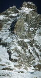 Matterhorn peak. (4474m) - Monte Cervino - Italia - Cervinia. High quality detalis of all route from italian wall. (Climbing royalty free stock image