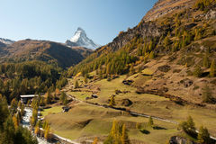 Matterhorn peak and autumn landscape, Switzerland Royalty Free Stock Image