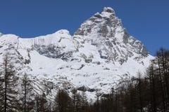 Matterhorn peak in Breuil-Cervinia. Valtournenche. Aosta Valley Stock Photography