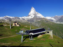 Matterhorn peak with cable car station in Zermatt, Switzerland g Royalty Free Stock Photography