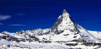 Matterhorn peak at Gornerg Royalty Free Stock Photo