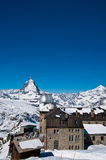 Matterhorn peak at Gornerg Royalty Free Stock Image