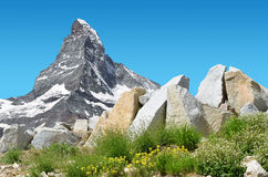 Matterhorn peak in Pennine alps, Switzerland. Mountain landscape with views of the Matterhorn peak in Pennine alps, Switzerland Stock Images