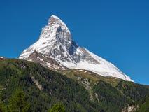 Matterhorn peak in sunny day from Zermatt, Switzerland. royalty free stock image