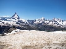Matterhorn peak in sunny day view from gornergrat train station, Zermatt, Switzerland. stock image