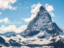 Matterhorn peak in sunny day view from gornergrat train station royalty free stock photo