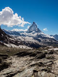 Matterhorn peak in sunny day view from Rotenboden train station royalty free stock images