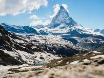 Matterhorn peak in sunny day view from Rotenboden train station, Zermatt, Switzerland. stock photo