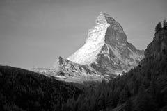 Matterhorn peak, Switzerland. Matterhorn, view from Zermatt, Switzerland - black and white picture Royalty Free Stock Photos