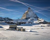 Matterhorn Peak in Zermatt Ski Resort Stock Photo