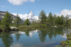 Matterhorn reflected in Grindjisee Royalty Free Stock Photos
