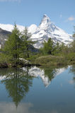 Matterhorn reflected in Grindjisee Stock Photos