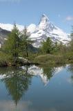 Matterhorn reflected in Grindjisee Stock Photos