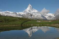 Matterhorn reflected in Leisee lake Stock Photos