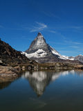 Matterhorn Reflection in Riffelsee Stock Photo