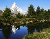 Matterhorn Reflection in Grindjisee Lake Stock Images