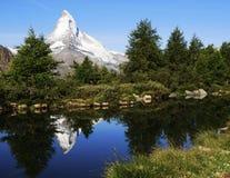 Matterhorn Reflection in Grindjisee Lake. Matterhorn reflection in Grindjisee on a perfect summer morning Stock Images