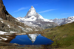 Matterhorn reflection in the Riffelsee lake Royalty Free Stock Images
