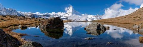 Matterhorn reflection in Stellisee Royalty Free Stock Photo