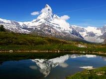 Matterhorn reflects in mountain Royalty Free Stock Photo