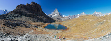 Matterhorn. In the Rifelsee lake, Zermatt Royalty Free Stock Photo
