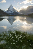 Matterhorn and Riffelsee lake at Sunrise Royalty Free Stock Photo