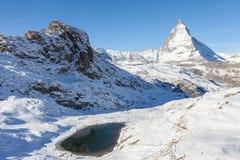 Matterhorn with Riffelsee, Zermatt, Switzerland Royalty Free Stock Image