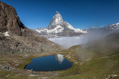 Matterhorn and Rillelsee lake , Swiss Alps Stock Photography