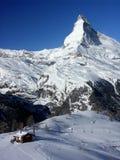Matterhorn rock. Winter view of Matterhorn rock from ski slopes Royalty Free Stock Images