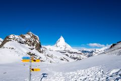 Matterhorn from Rotenboden signpost. From this point, we can walk to Riffelsee with Matterhorn as background Stock Photo