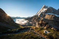 Matterhorn from Schoenbiel mountain hut. Matterhorn mountain peak view from SAC mountain hut Schoenbiel at sunrise, Zermatt, Switzerland Stock Images