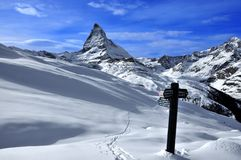Matterhorn and signpost Stock Photography