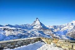 Matterhorn sikt från Zermatt Arkivfoto