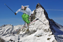 Matterhorn and ski jumper Royalty Free Stock Images