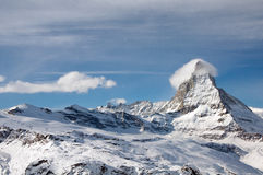Matterhorn and ski slopes Stock Photos